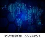 binary circuit board future... | Shutterstock .eps vector #777783976