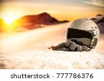 winter time and ski space on... | Shutterstock . vector #777786376