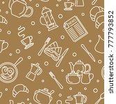 breakfast thin line vector... | Shutterstock .eps vector #777793852
