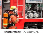 fire fighter officers preparing ... | Shutterstock . vector #777804076