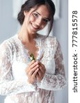 a beautiful cheerful bride in a ... | Shutterstock . vector #777815578