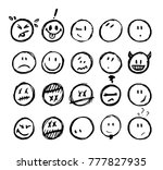 painted smileys set icons.... | Shutterstock .eps vector #777827935