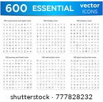 600 big essentials large thin... | Shutterstock .eps vector #777828232