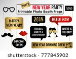 new year party 2018 photo booth ... | Shutterstock .eps vector #777845902