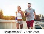 fitness training for couple in... | Shutterstock . vector #777848926
