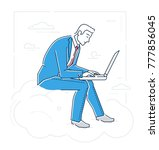 businessman with a notebook  ...   Shutterstock .eps vector #777856045
