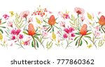 watercolor tropical horizontal... | Shutterstock . vector #777860362