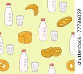 seamless with milk and breads | Shutterstock .eps vector #77786059