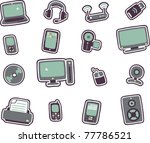 vector cartoon technology icons ... | Shutterstock .eps vector #77786521