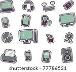 vector cartoon technology icons ... | Shutterstock .eps vector #77786521