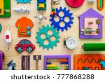 close up bright busy board for... | Shutterstock . vector #777868288