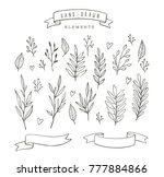 set of hand drawn vector floral ... | Shutterstock .eps vector #777884866