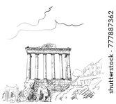 sketch of pillars of temple of... | Shutterstock .eps vector #777887362