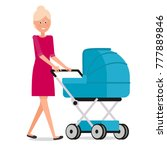 mom with a stroller | Shutterstock .eps vector #777889846