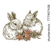 Stock vector a couple of cute white rabbits and pink flowers vintage engraving style vector illustration 777907438