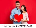 he vs she celebrating valentine ... | Shutterstock . vector #777923662