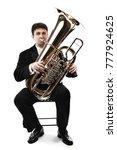 Tuba brass instrument. wind...