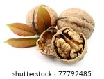 Small photo of walnut t with leaf isolated on white background