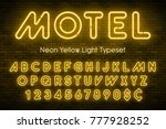 neon light alphabet  realistic... | Shutterstock .eps vector #777928252
