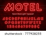 neon light alphabet  realistic... | Shutterstock .eps vector #777928255