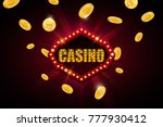casino banner with light bulbs... | Shutterstock .eps vector #777930412