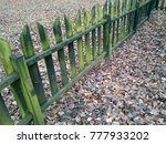 Wet Wooden Fence Covered In...