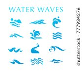 collection of flat water wave... | Shutterstock . vector #777934276