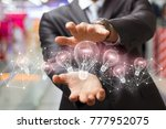 businessman showing idea... | Shutterstock . vector #777952075