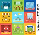 restaurant interior vector cafe ... | Shutterstock .eps vector #777952582