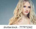 young nice blonde girl with... | Shutterstock . vector #777971362