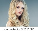 young nice blonde girl with... | Shutterstock . vector #777971386