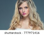 young nice blonde girl with... | Shutterstock . vector #777971416