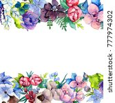 Stock photo flower composition frame in a watercolor style full name of the plant tropical flower aquarelle 777974302