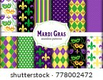 cute set of 12 seamless mardi... | Shutterstock .eps vector #778002472