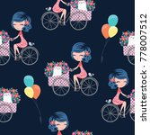 Pattern Cute Girl On Bicycle ...