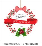 vector christmas wreath with... | Shutterstock .eps vector #778010938