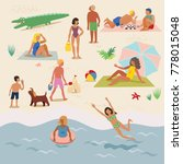 summer vacation on a sandy... | Shutterstock .eps vector #778015048