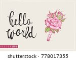 bridal greeting card with rose... | Shutterstock .eps vector #778017355