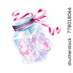 Watercolor Glass Jar With...