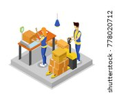 warehouse with workers... | Shutterstock .eps vector #778020712