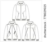 mens bomber jacket cad drawing   Shutterstock .eps vector #778029025