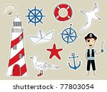 funny nautical set | Shutterstock .eps vector #77803054