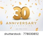 30 anniversary gold numbers... | Shutterstock .eps vector #778030852