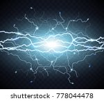 electric flash of lightning.... | Shutterstock .eps vector #778044478