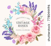 card with lavender wreath | Shutterstock .eps vector #778044496