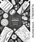 italian food top view. a set of ... | Shutterstock .eps vector #778050976