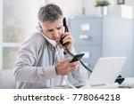 stressed desperate businessman... | Shutterstock . vector #778064218