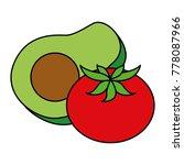 fresh avocado with tomato | Shutterstock .eps vector #778087966