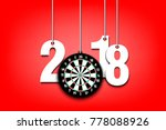 new year numbers 2018 and darts ...   Shutterstock .eps vector #778088926