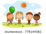 happy kids cartoon with... | Shutterstock .eps vector #778144582